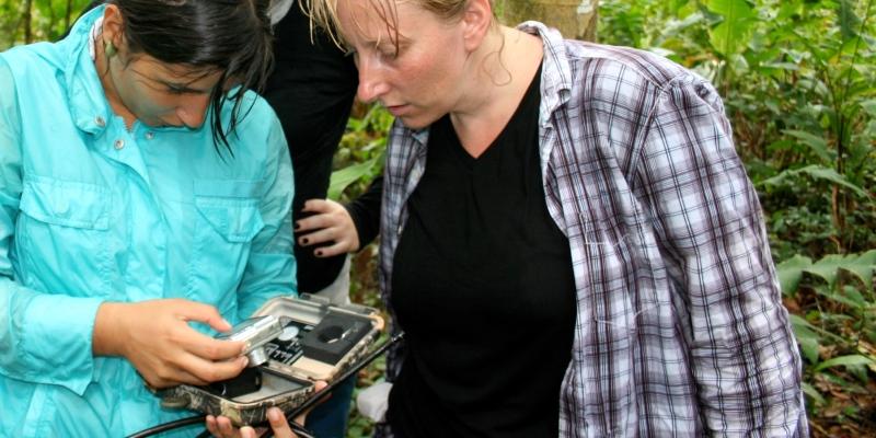 Costa Rica Wildlife Expedition checking remote camera's