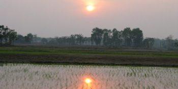 Vrijwilligerswerk in Kathmandu zonsondergang over de rijstvelden
