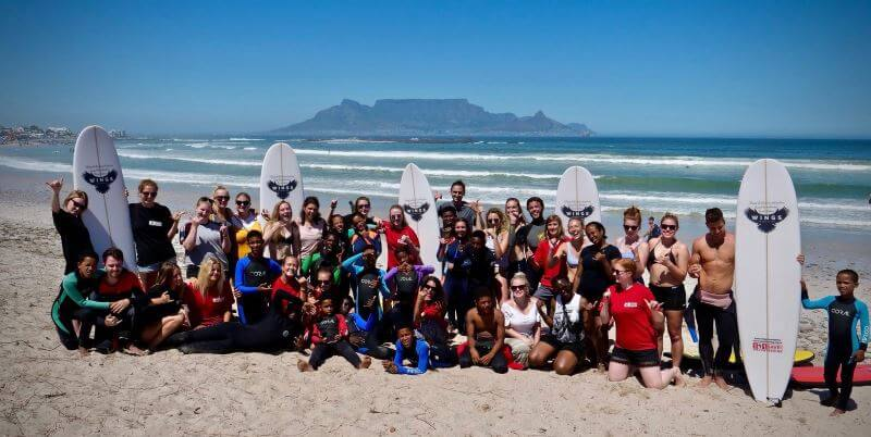 Zuid-Afrika Surf and Adventureclub project groepsfoto