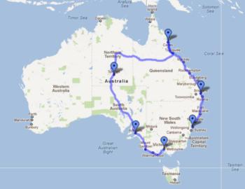 Australie Route Sydney Cairns Melbourne