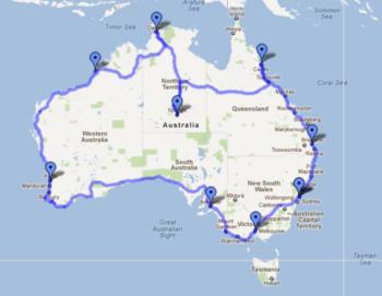 Australie Route Sydney Perth Sydney