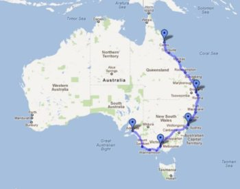Australie route Adelaide Cairns