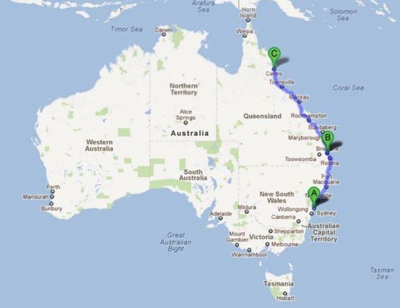 Australie route Oostkust