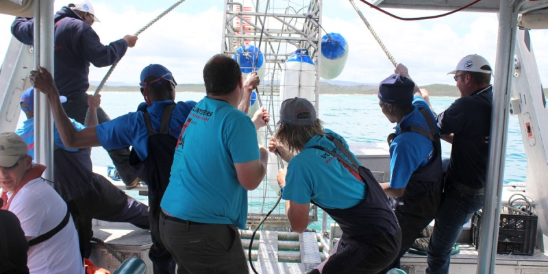 Zuid-Afrika-Marinse-Conservation-Gansbaai-Assisting-crew-on-board