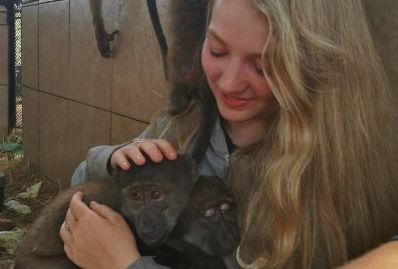 Monkey Rehab Sofie met kleine bavianen