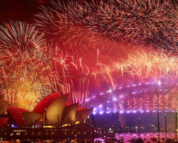Oud en Nieuw in Sydney tegel